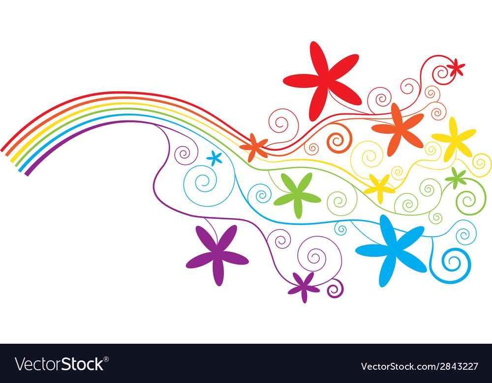 Rainbow and swirls vector image