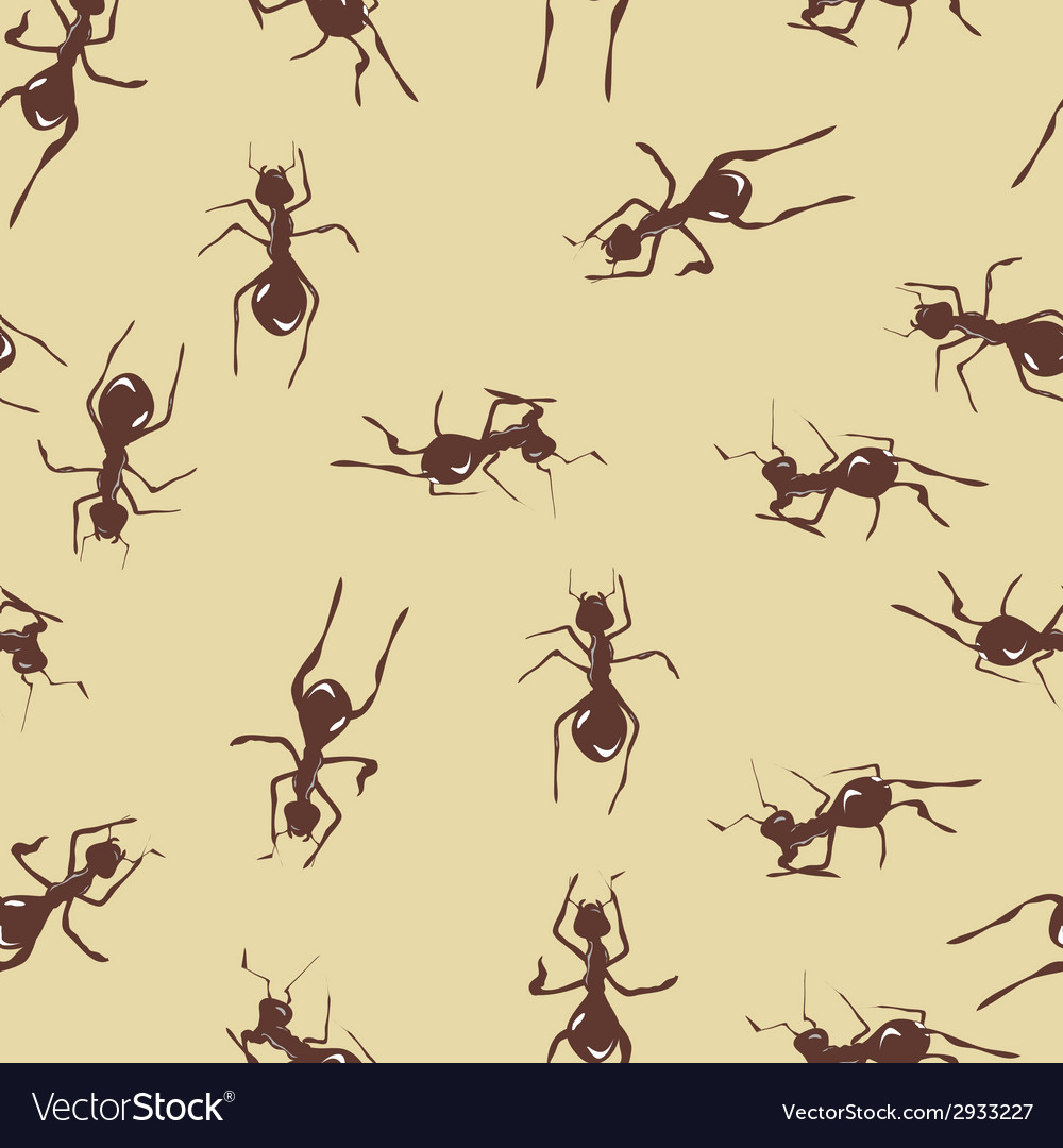 Seamless pattern with cute many brown ants on