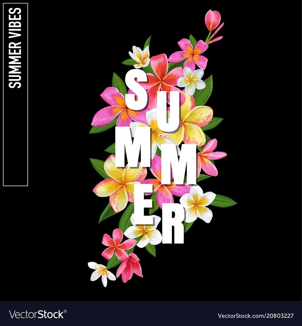 Summertime floral poster plumeria flowers