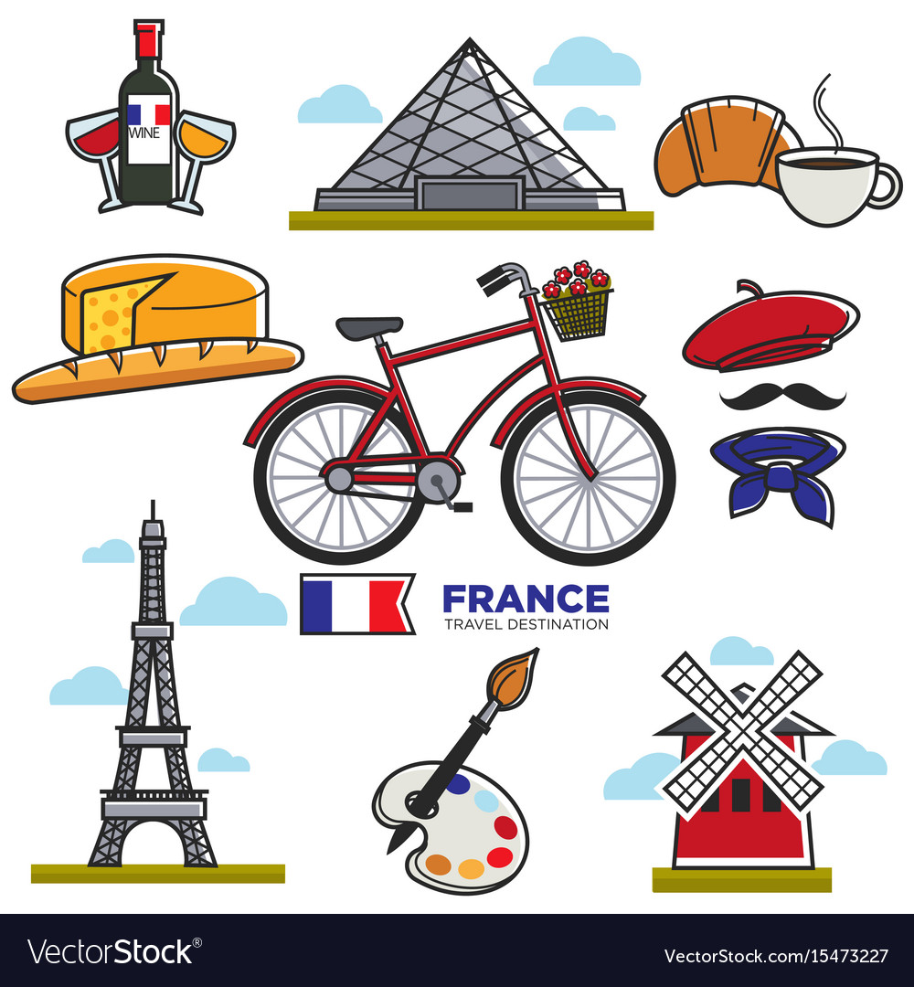 Travelling to france touristic map with vector image
