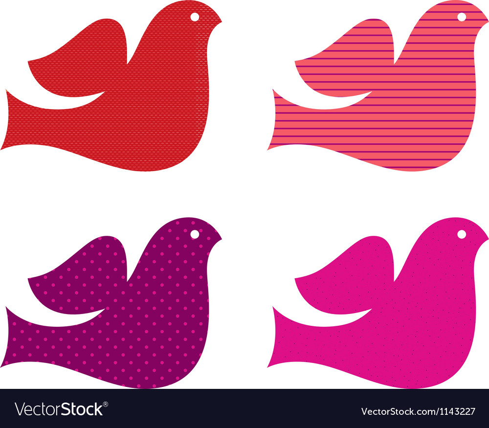 Valentine doves collection isolated on white vector image
