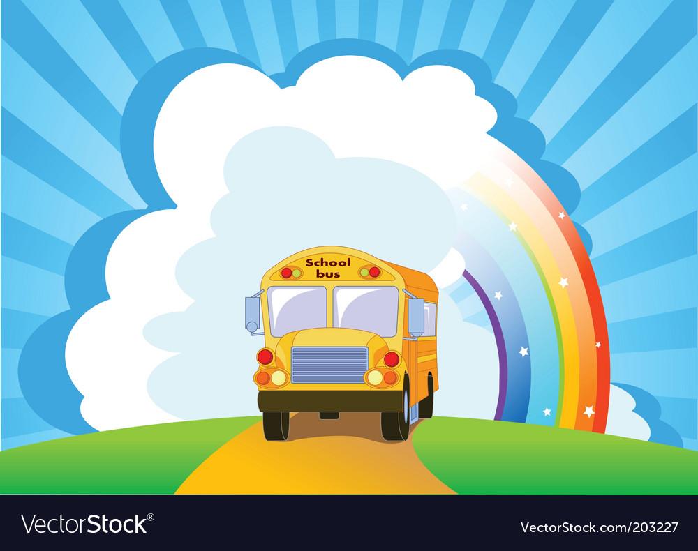 Yellow school bus background vector