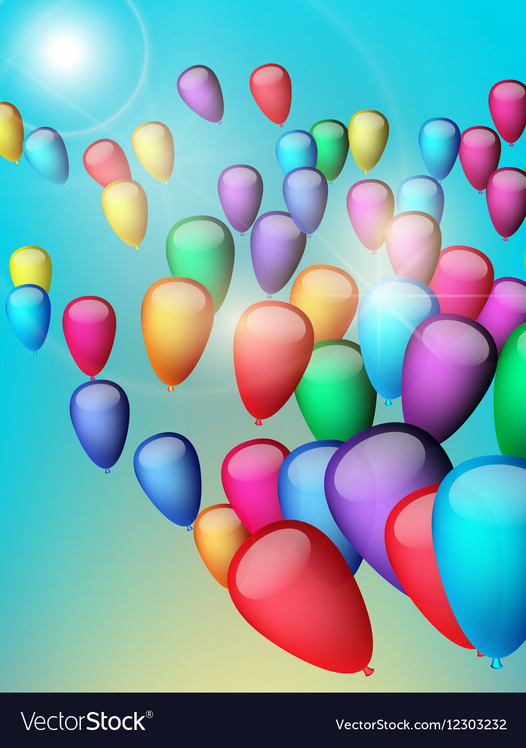 Background with colorful balloons in the sky