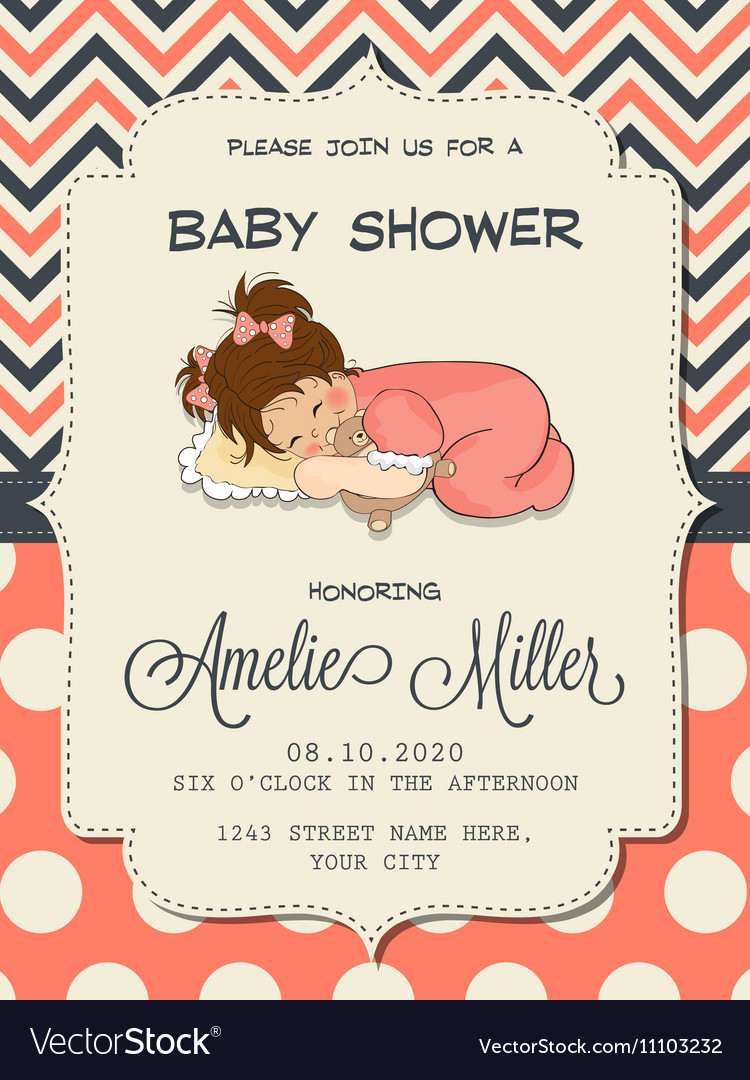 Beautiful baby girl shower card with cute little vector image