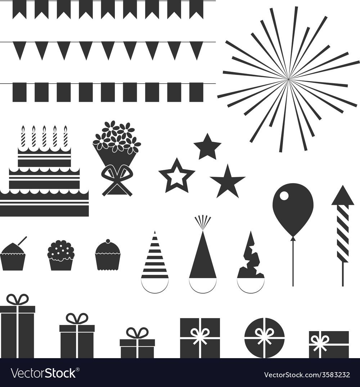 Birthday party icons set