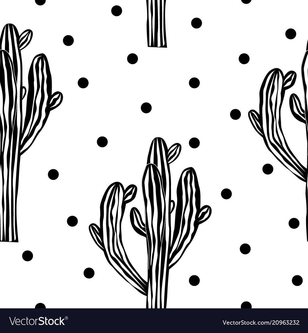 Cactus seamless pattern with saguaro cacti fabric