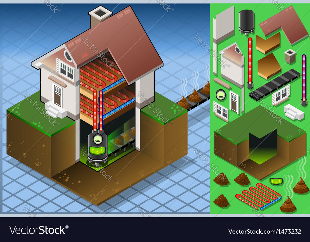 Isometric House with Bio Mass Boiler Royalty Free Vector