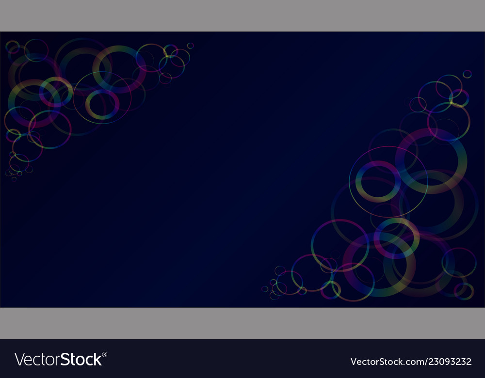 Multicolored translucent rings on a dark blue