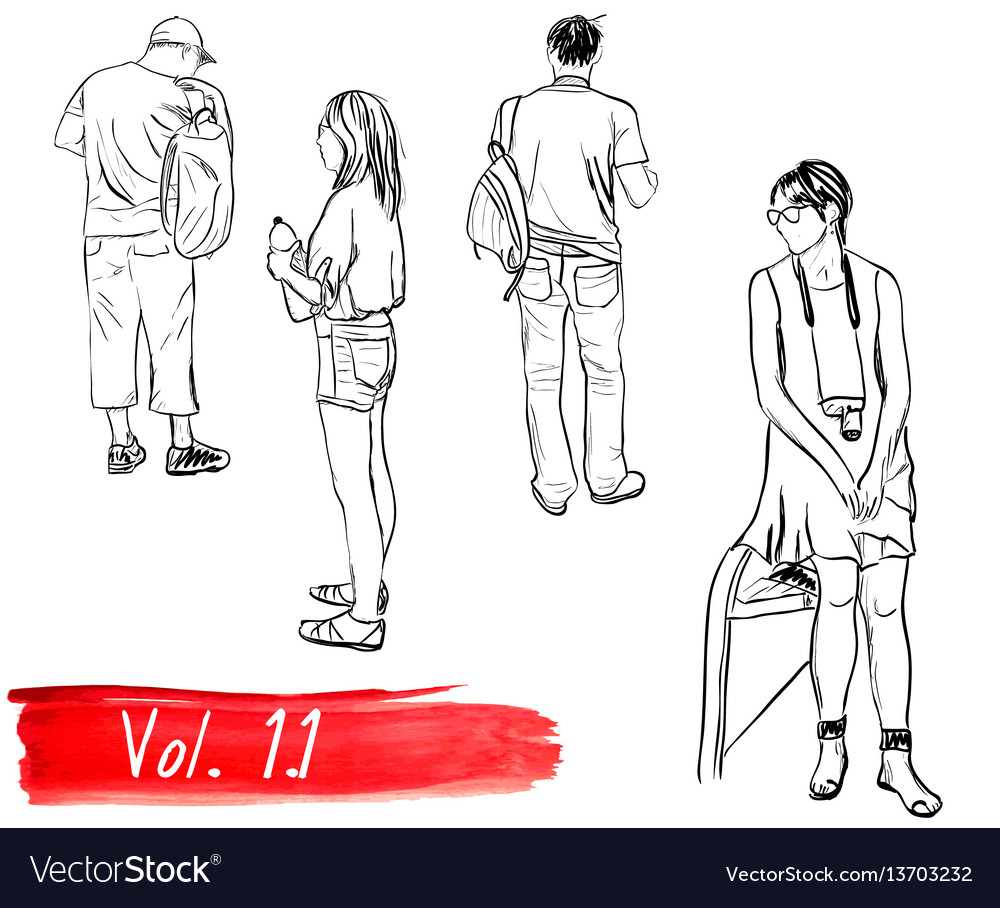 Set of hand-drawn people vector image