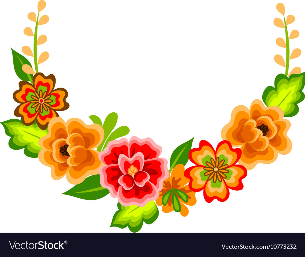 Wreath with mexican flowers vector image