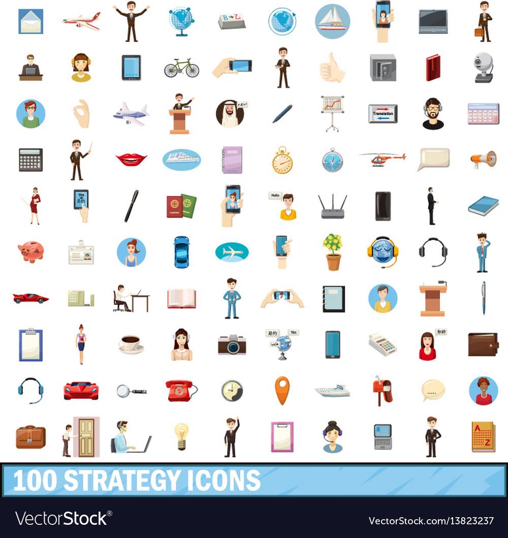 100 strategy icons set cartoon style