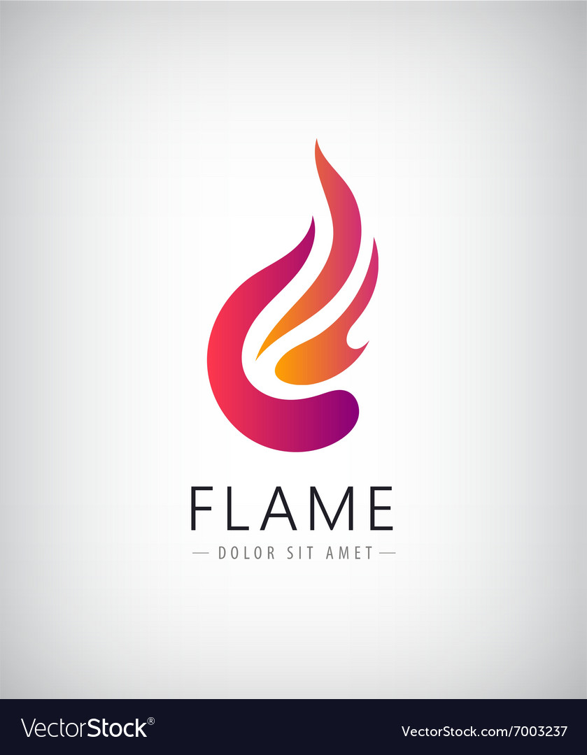 Abstract colorful flame fire logo icon