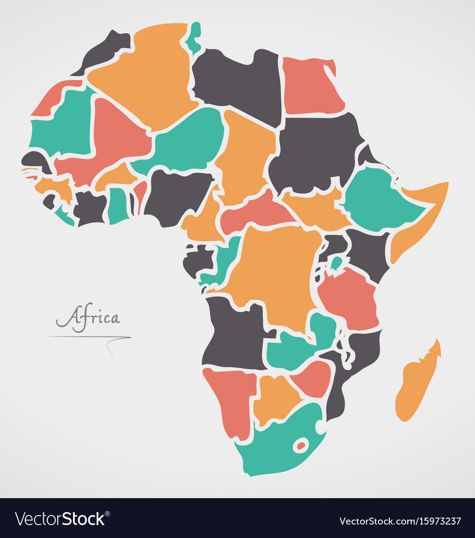 Africa continent map with states Royalty Free Vector Image