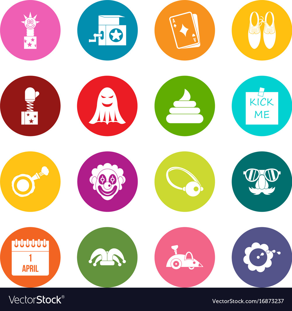 april fools day icons many colors set royalty free vector
