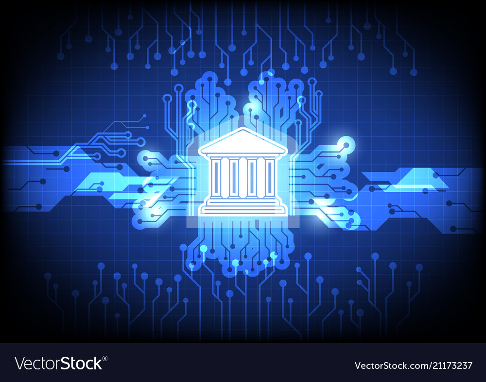 Digital banking icon with circuit background vector image