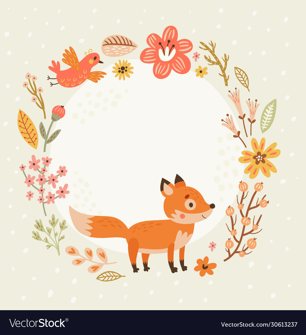 Floral background frame for text with cute foxes