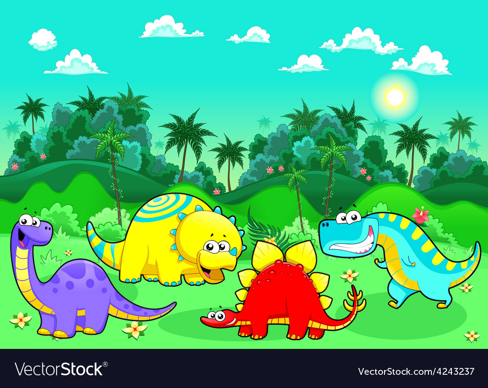 Funny dinosaurs in the forest