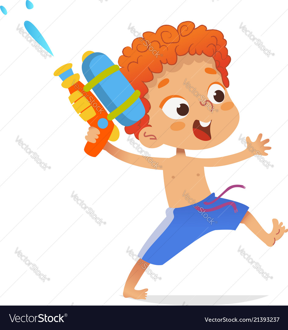 Redhead boy wearing swimming trunks run with a toy