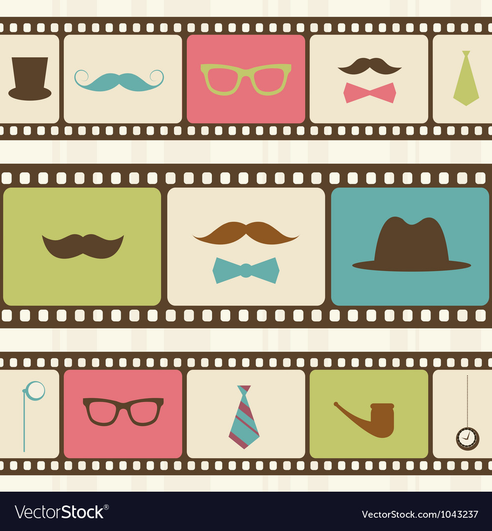 Retro background with film strips mustaches and vector image