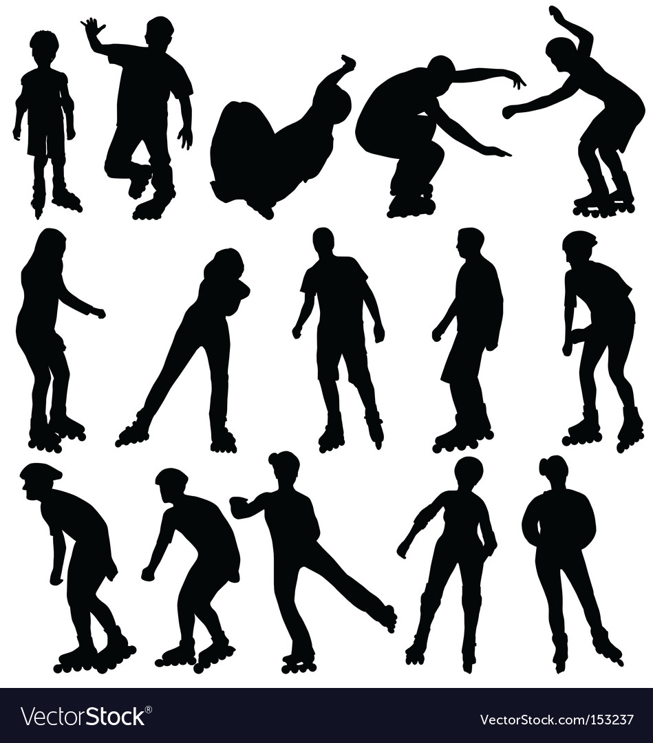 Rollerblade silhouettes vector image