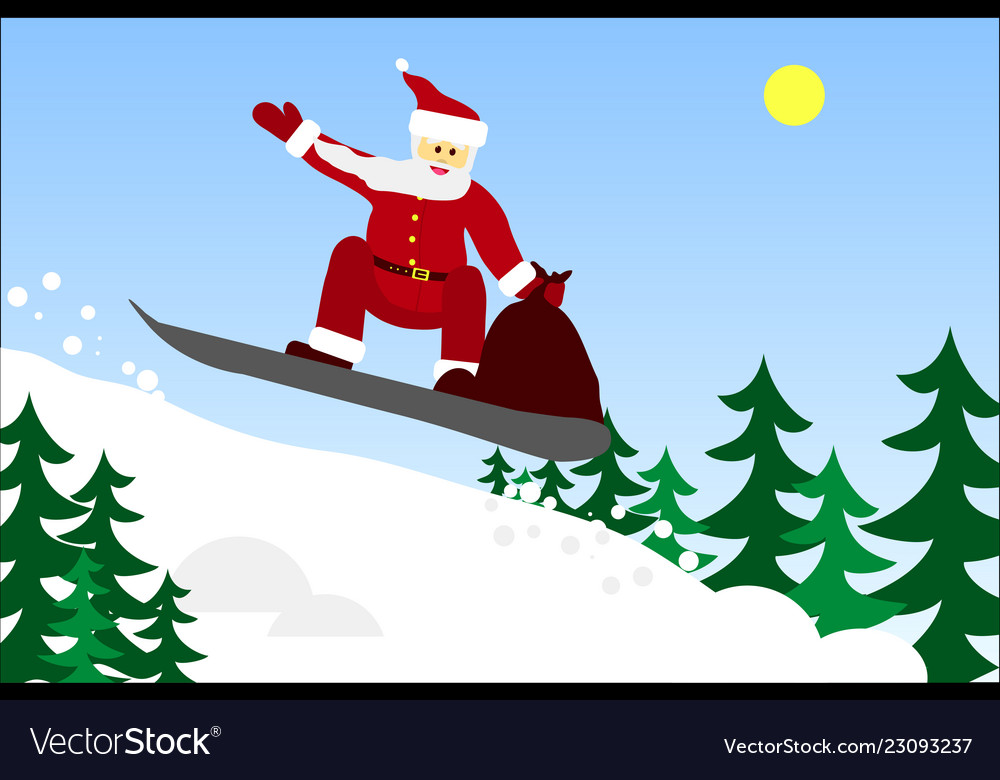 bag of gifts on a snowboard Vector Image