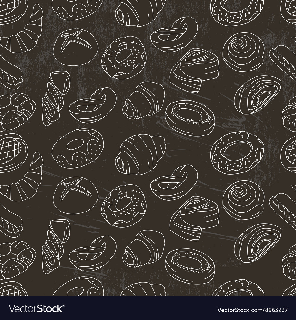 Seamless pattern with different pastry