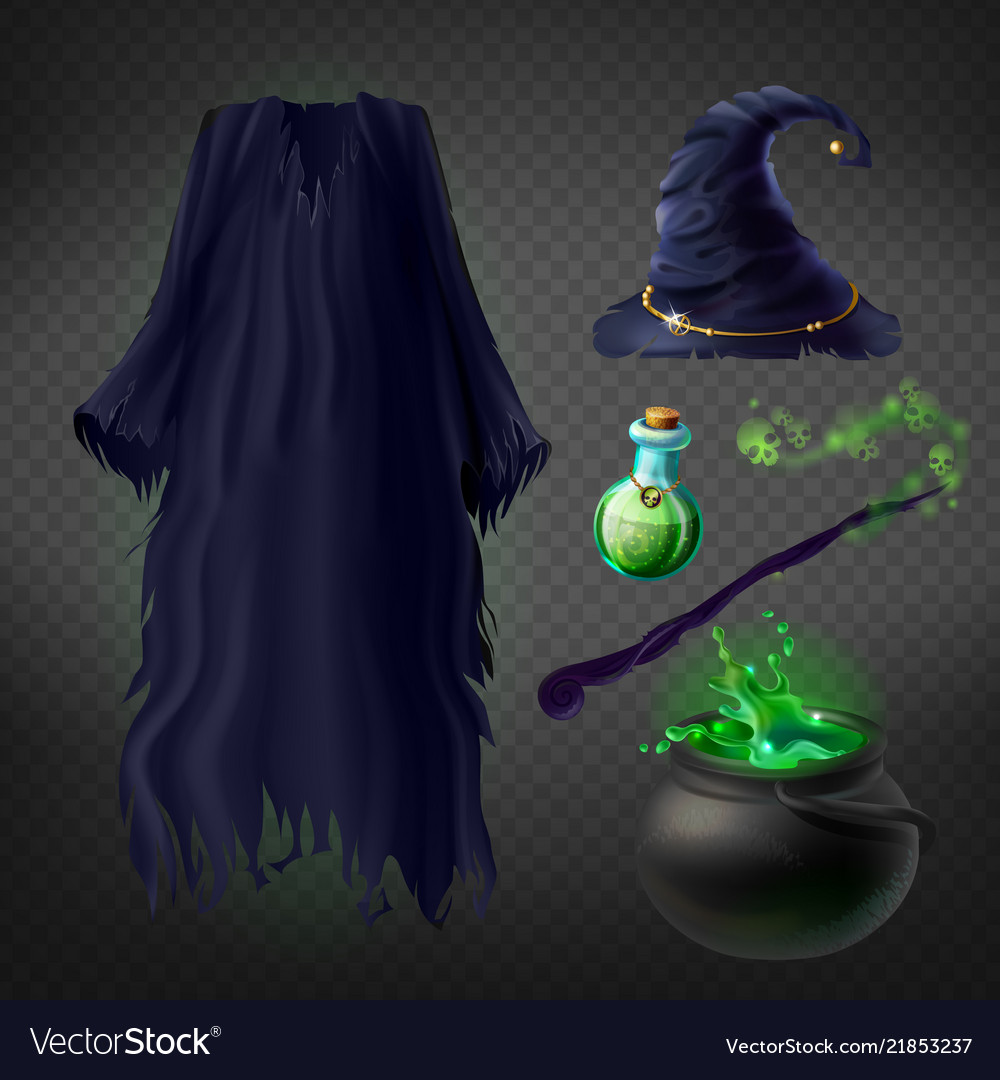 Witch costume set magic accessories vector