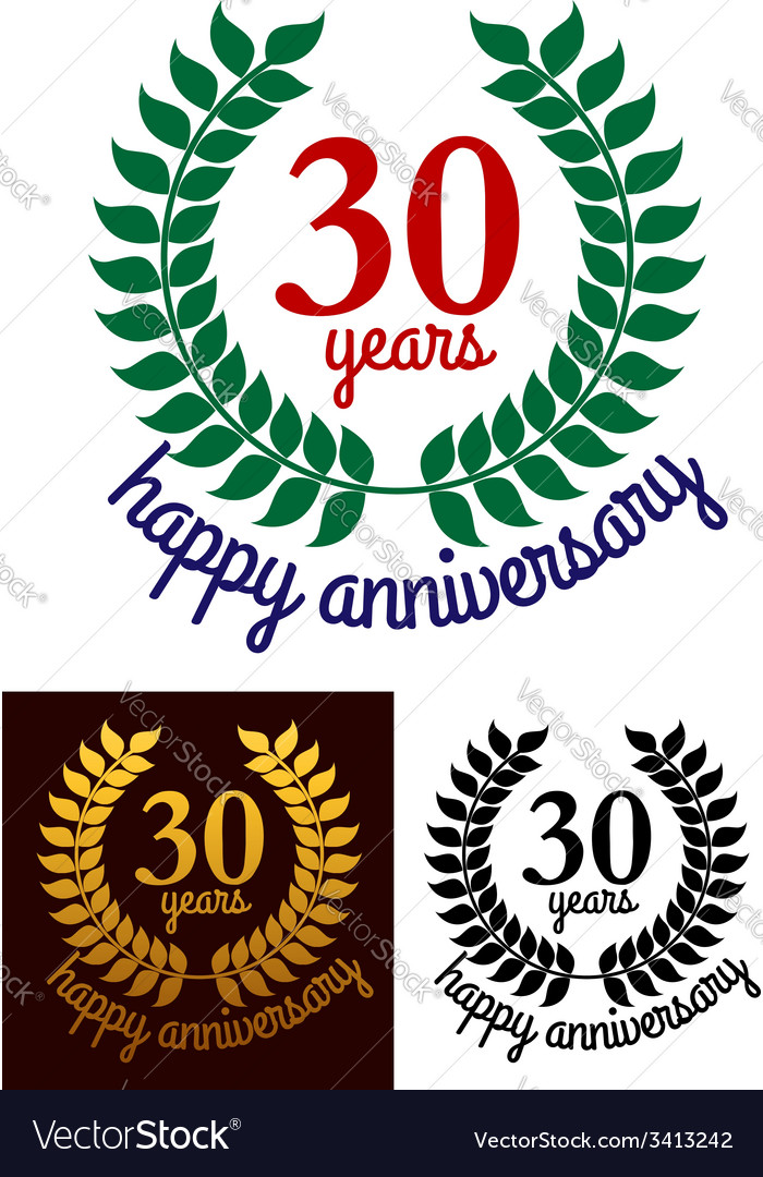 30 Years Happy Anniversary wreath vector image