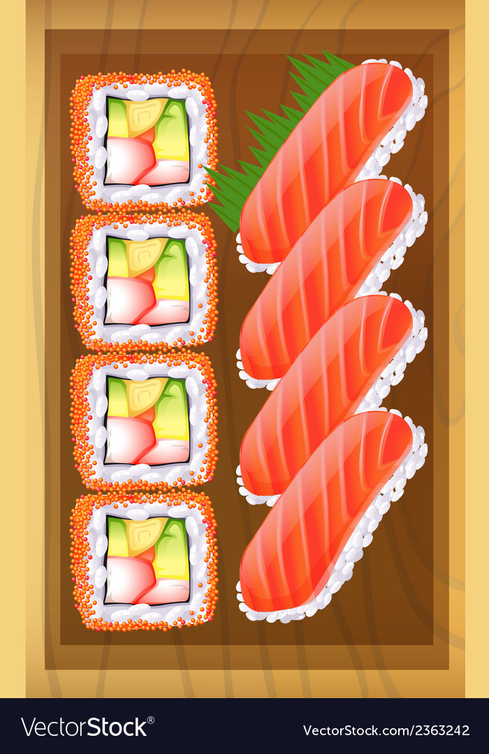 A topview of the different variants of sushi at