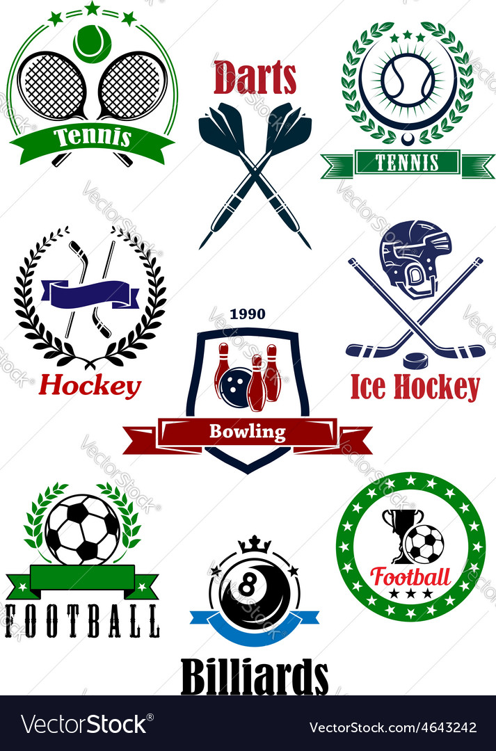 Assorted games logo and emblems vector image