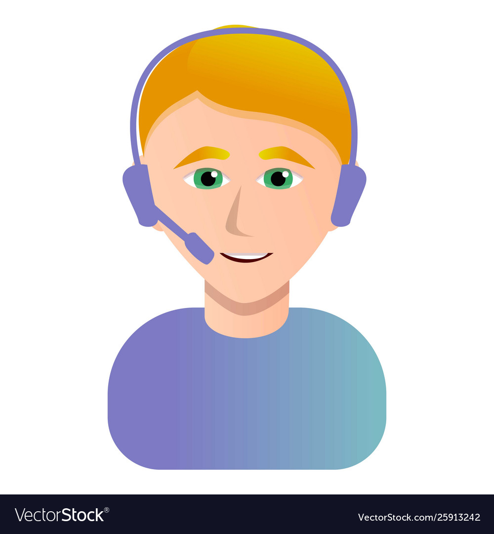 Call center operator icon cartoon style