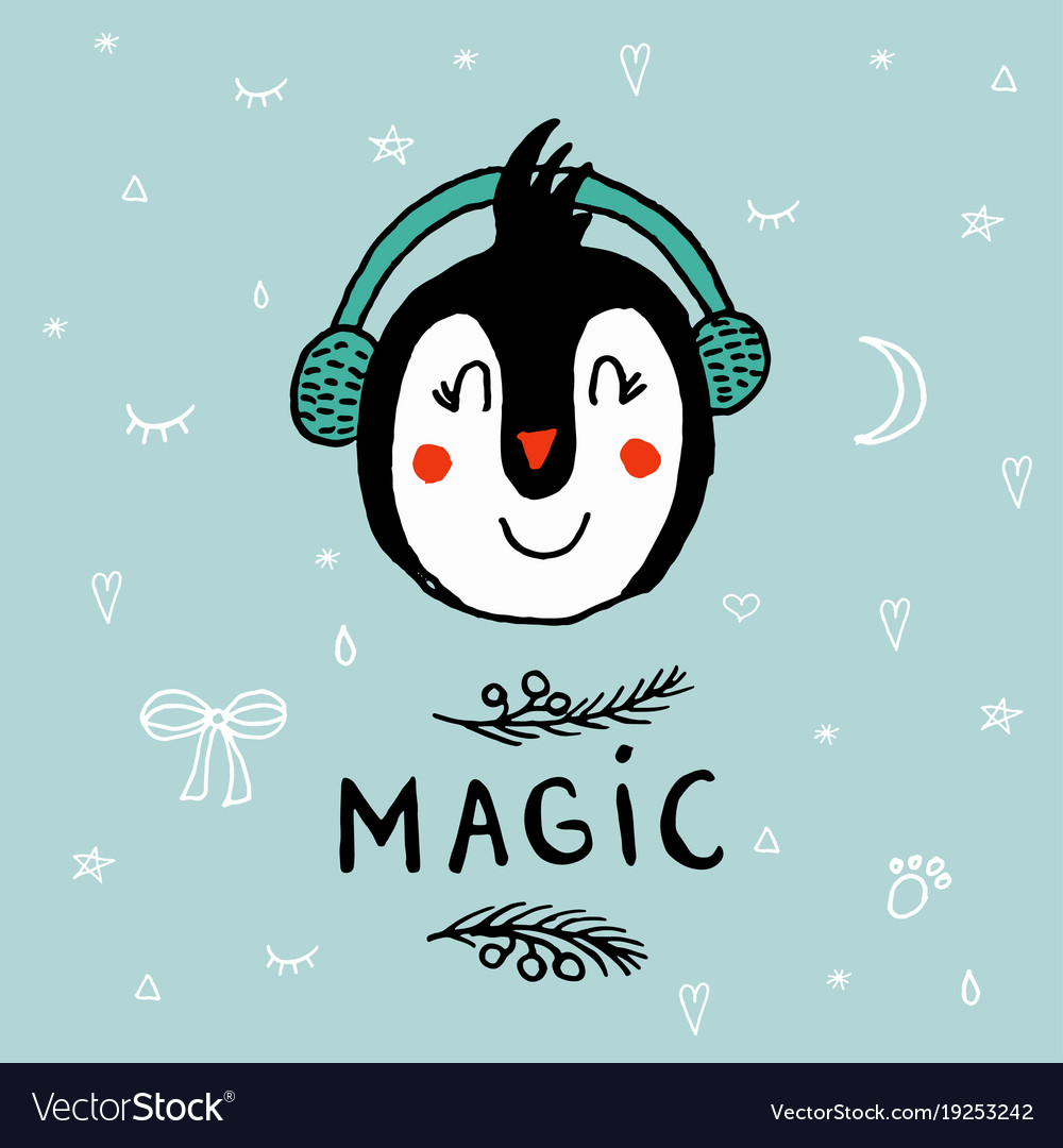 Christmas card with a penguin with lettering magic vector image