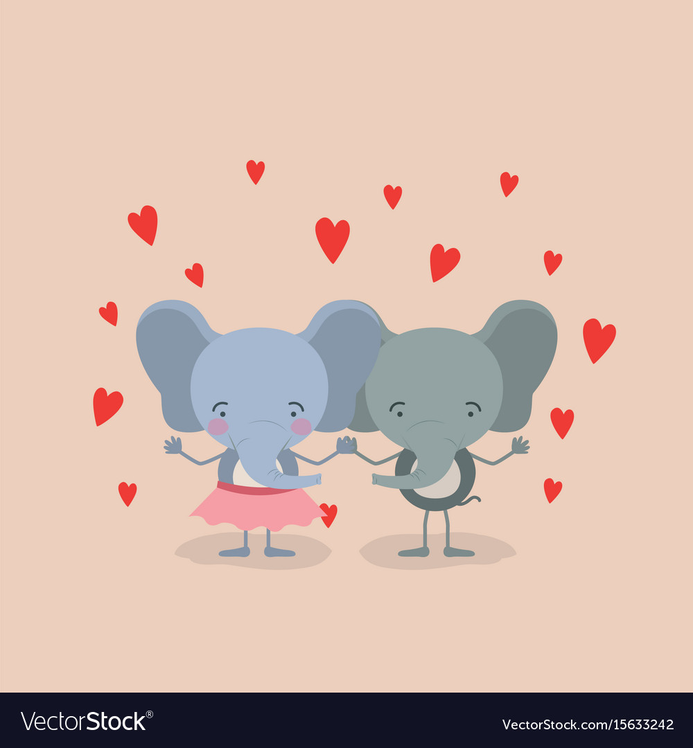 Color background with couple of elephants holding