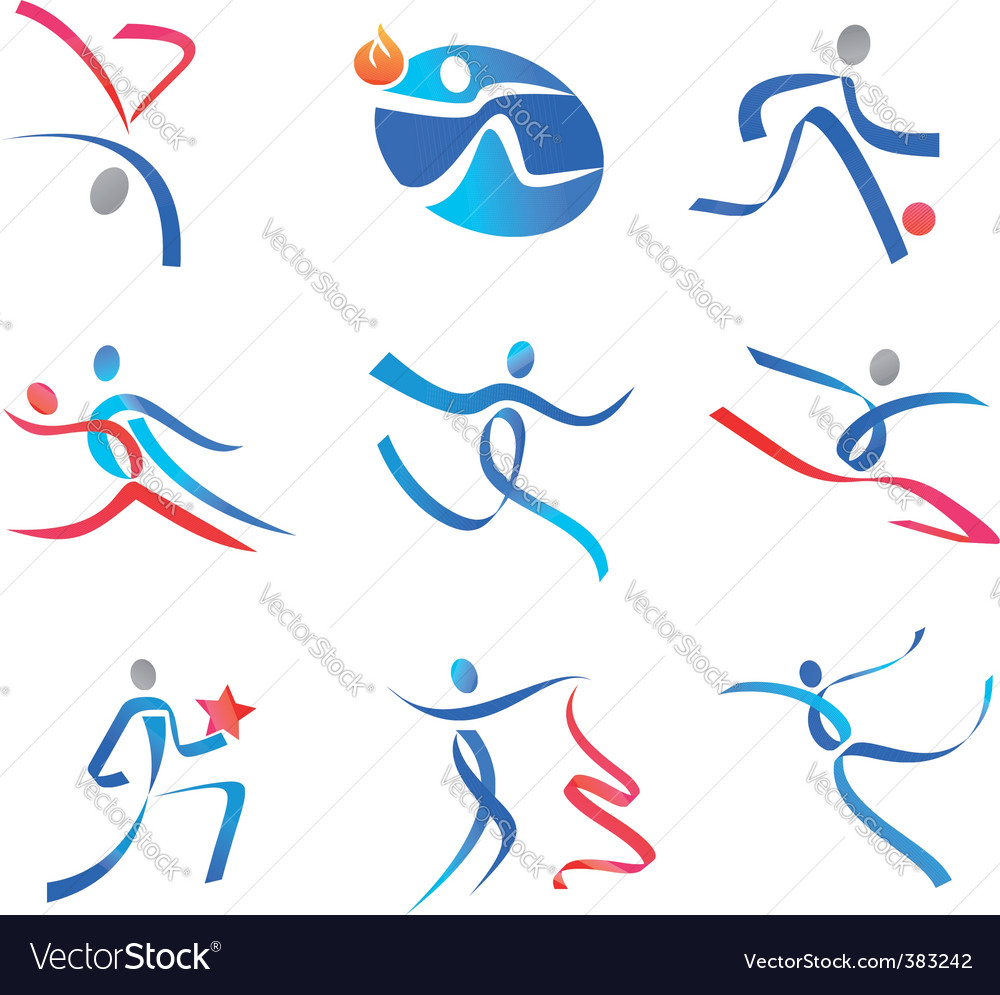 Dancing people and sportsmen vector image