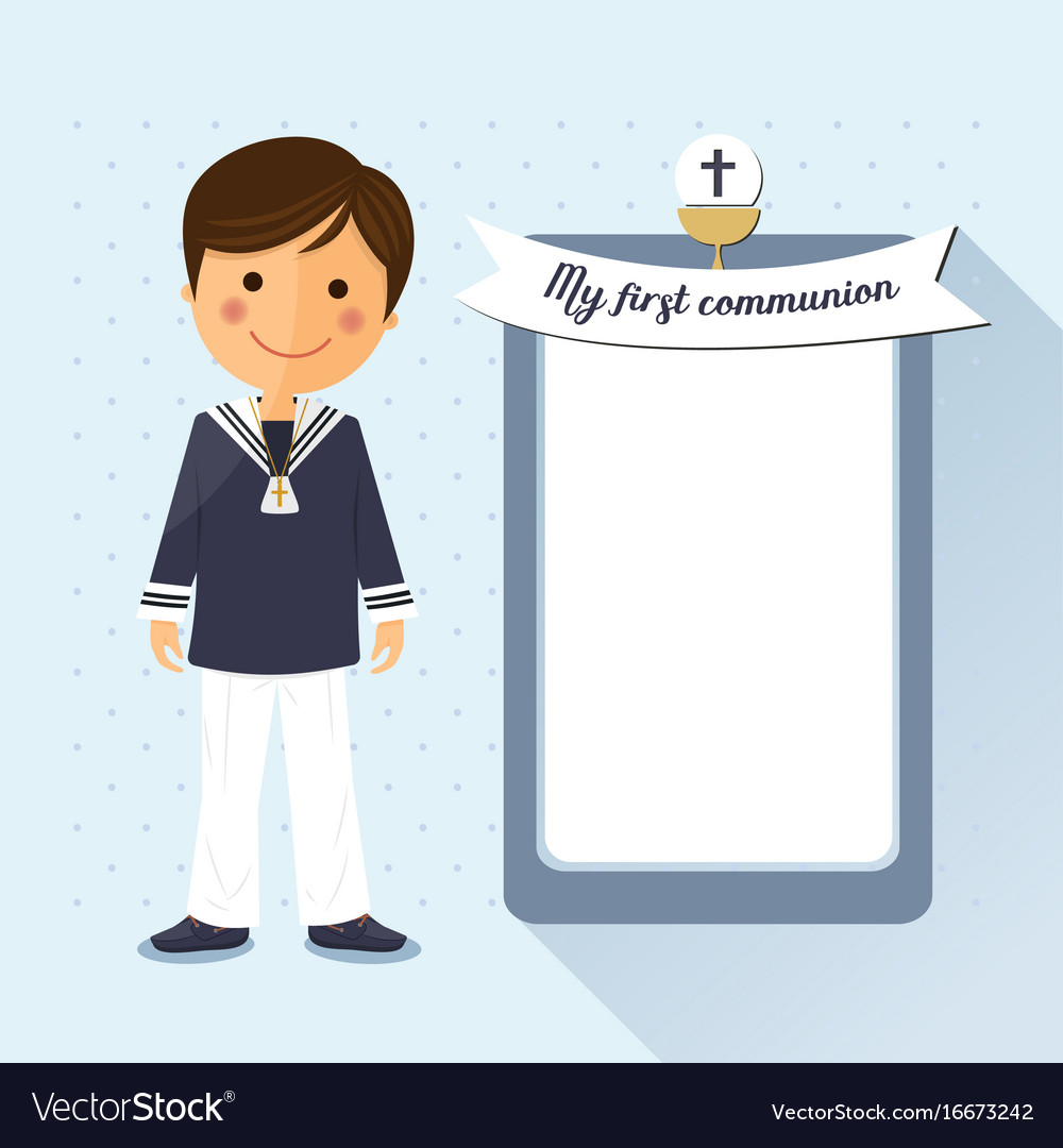 First communion child square card on blue