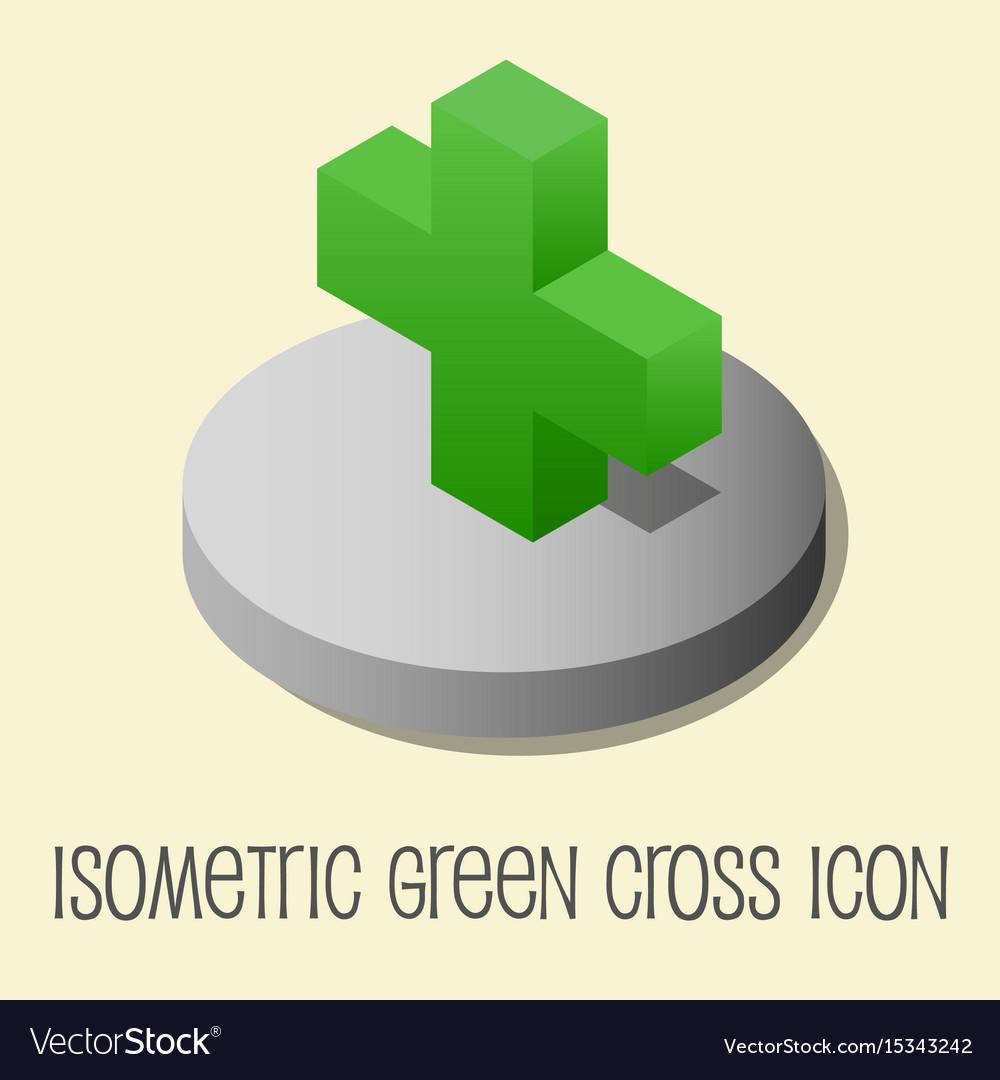 Heath icon isometric style green cross vector image