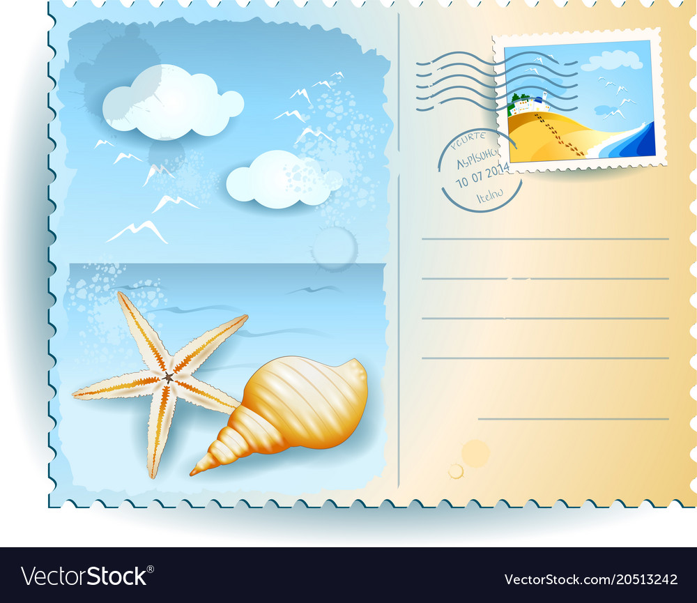 Holidays On The Beach Postcard Vector Image