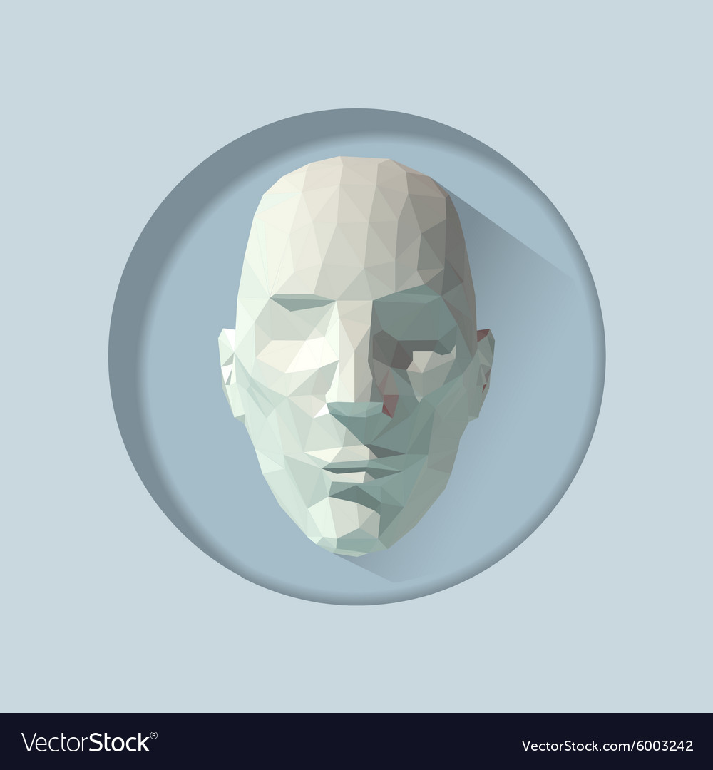 Low poly human head Royalty Free Vector Image - VectorStock