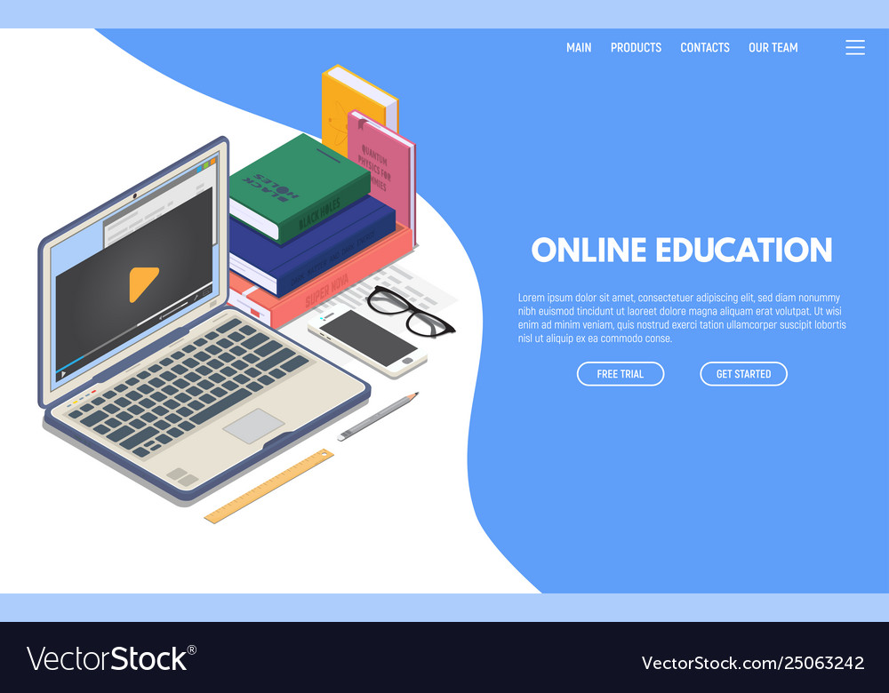 Online education isometric banner