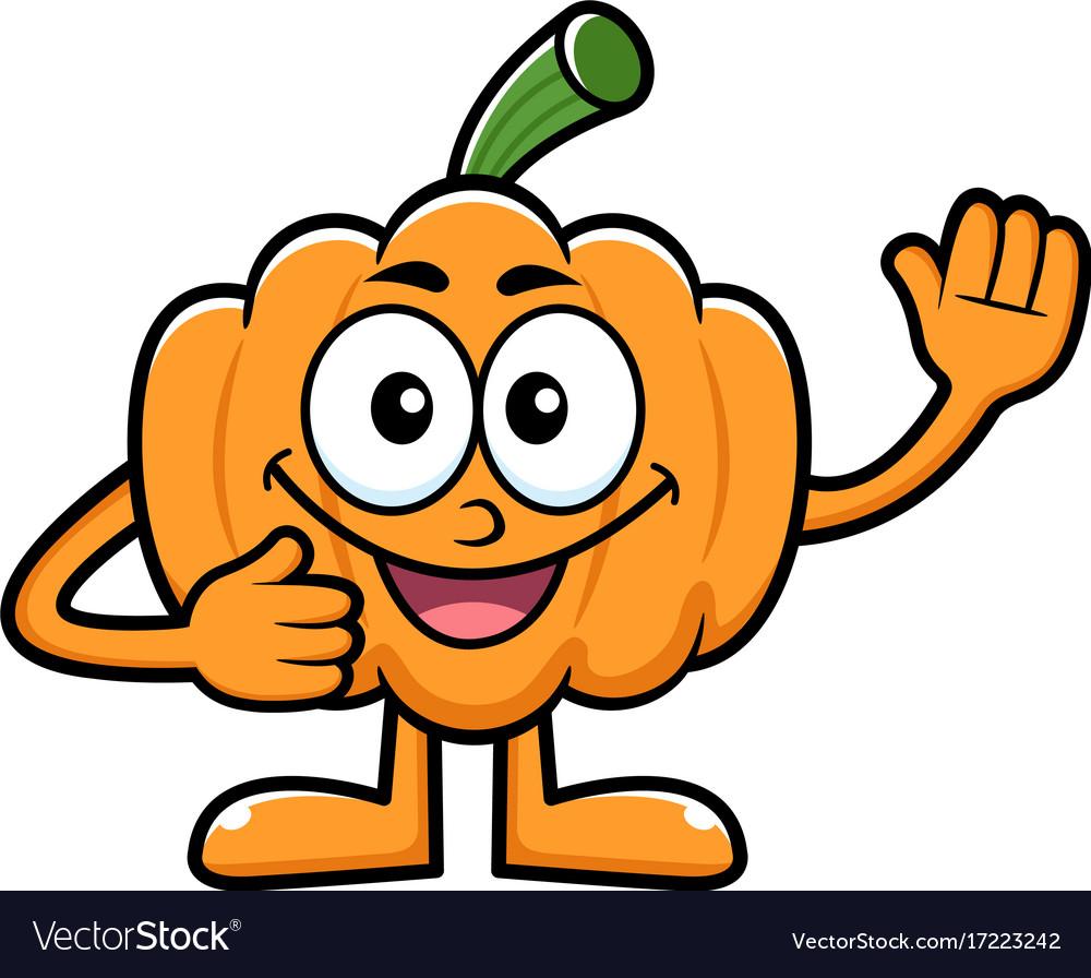 Pumpkin character hand greetings halloween day vector image m4hsunfo