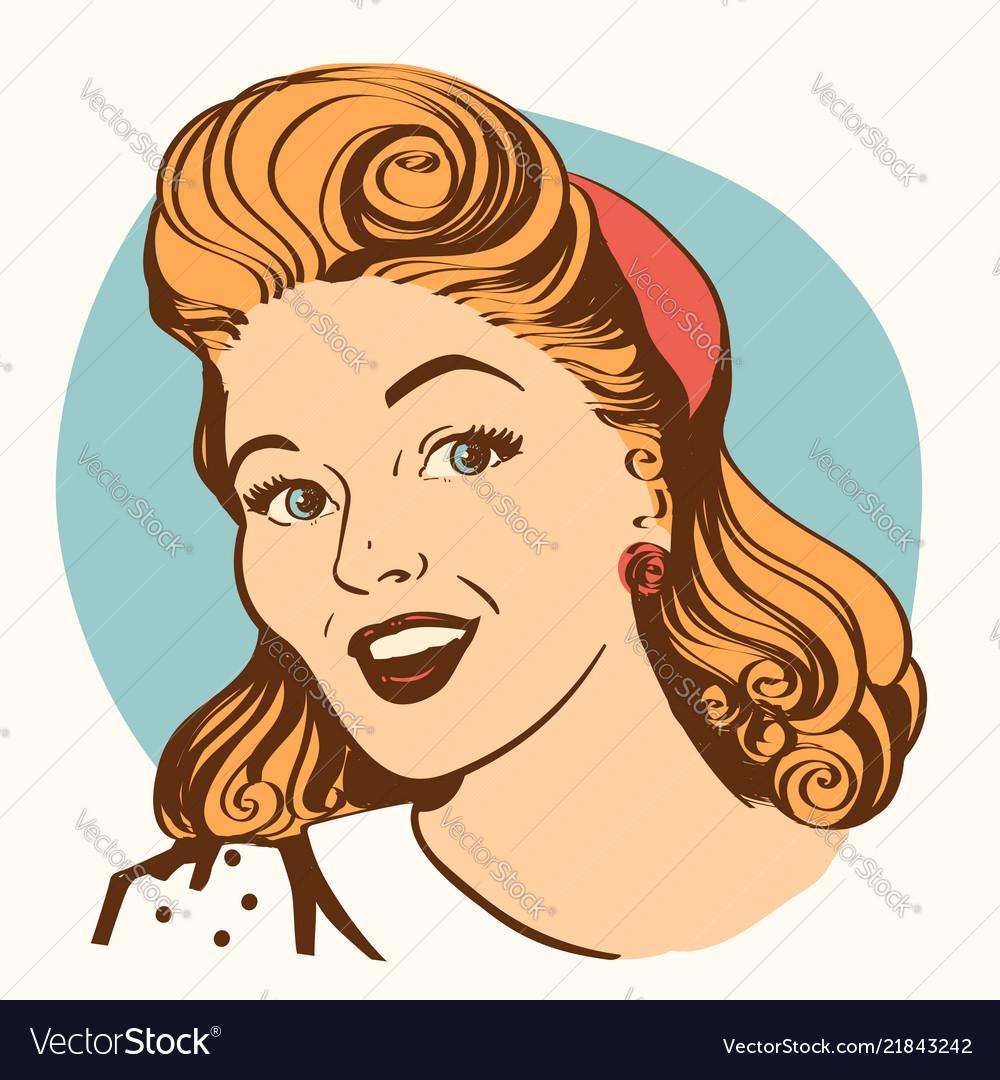 Retro smiling woman portrait face color