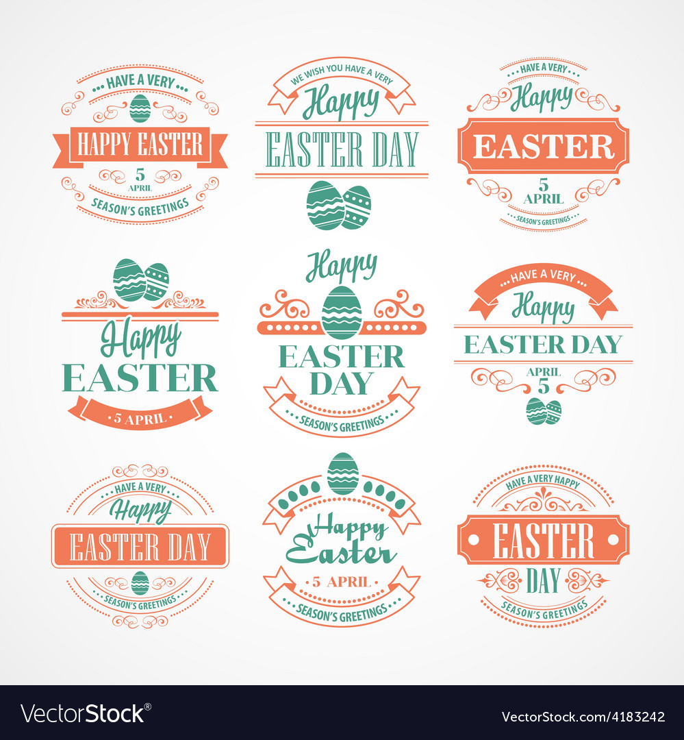Set Easter Holiday typography