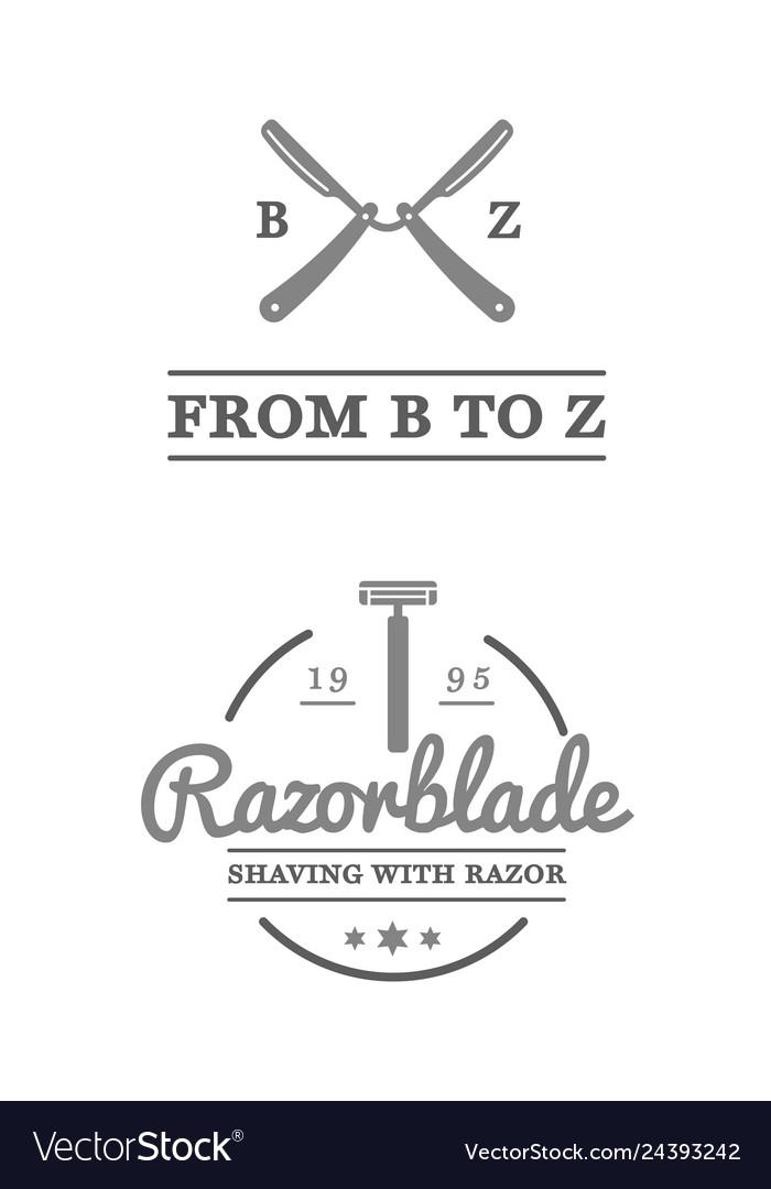 Set vintage barbershop labels templates
