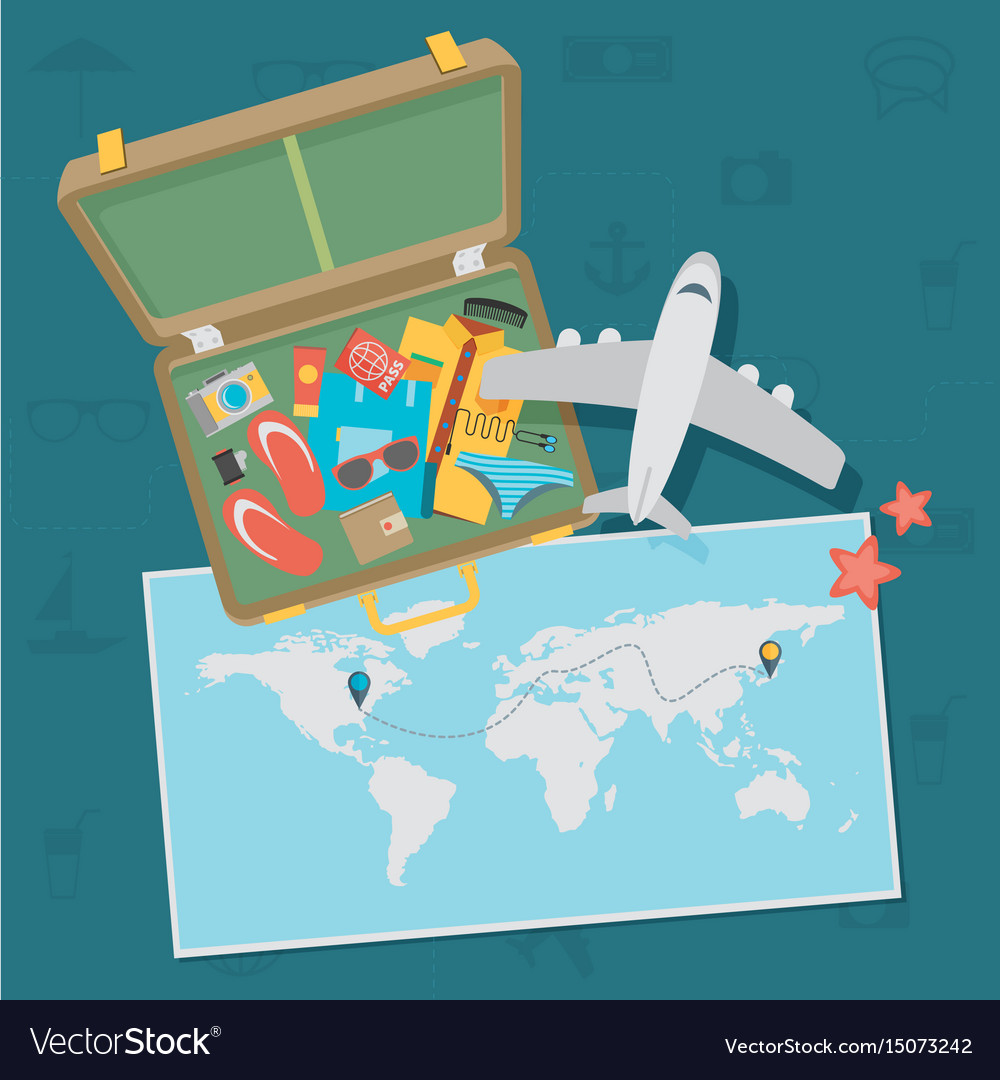 Travel background flat