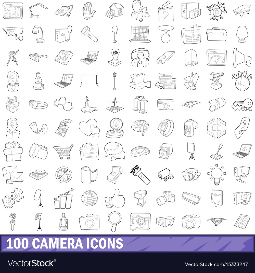 100 camera icons set outline style