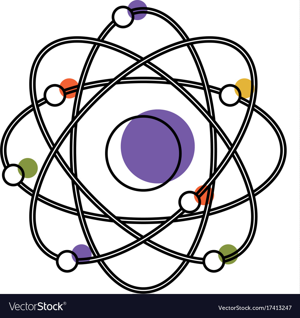 Atom icon in watercolor silhouette vector image