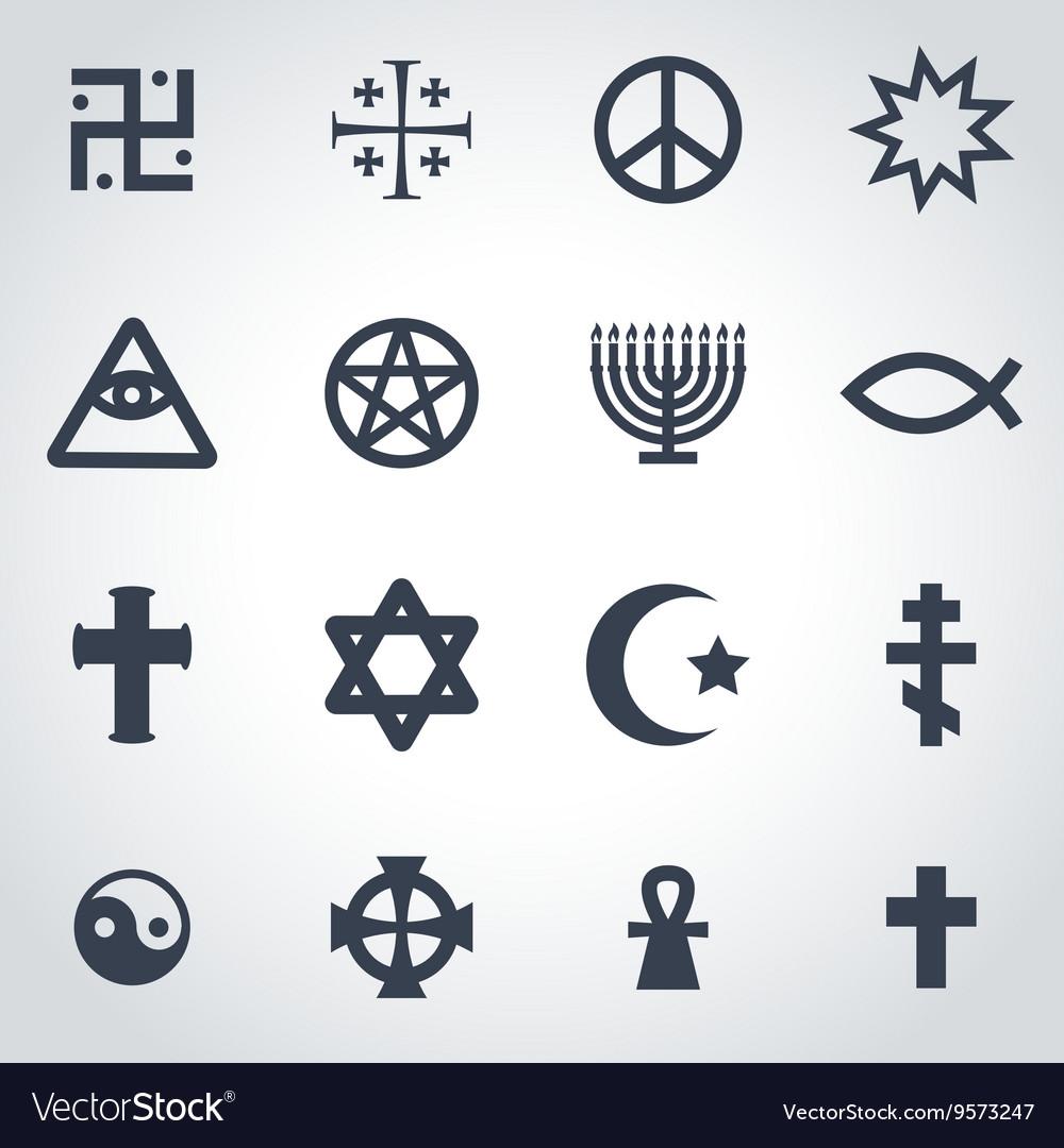 Black religious symbols set