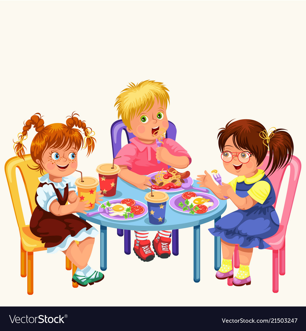 classmates having lunch in dining room royalty free vector