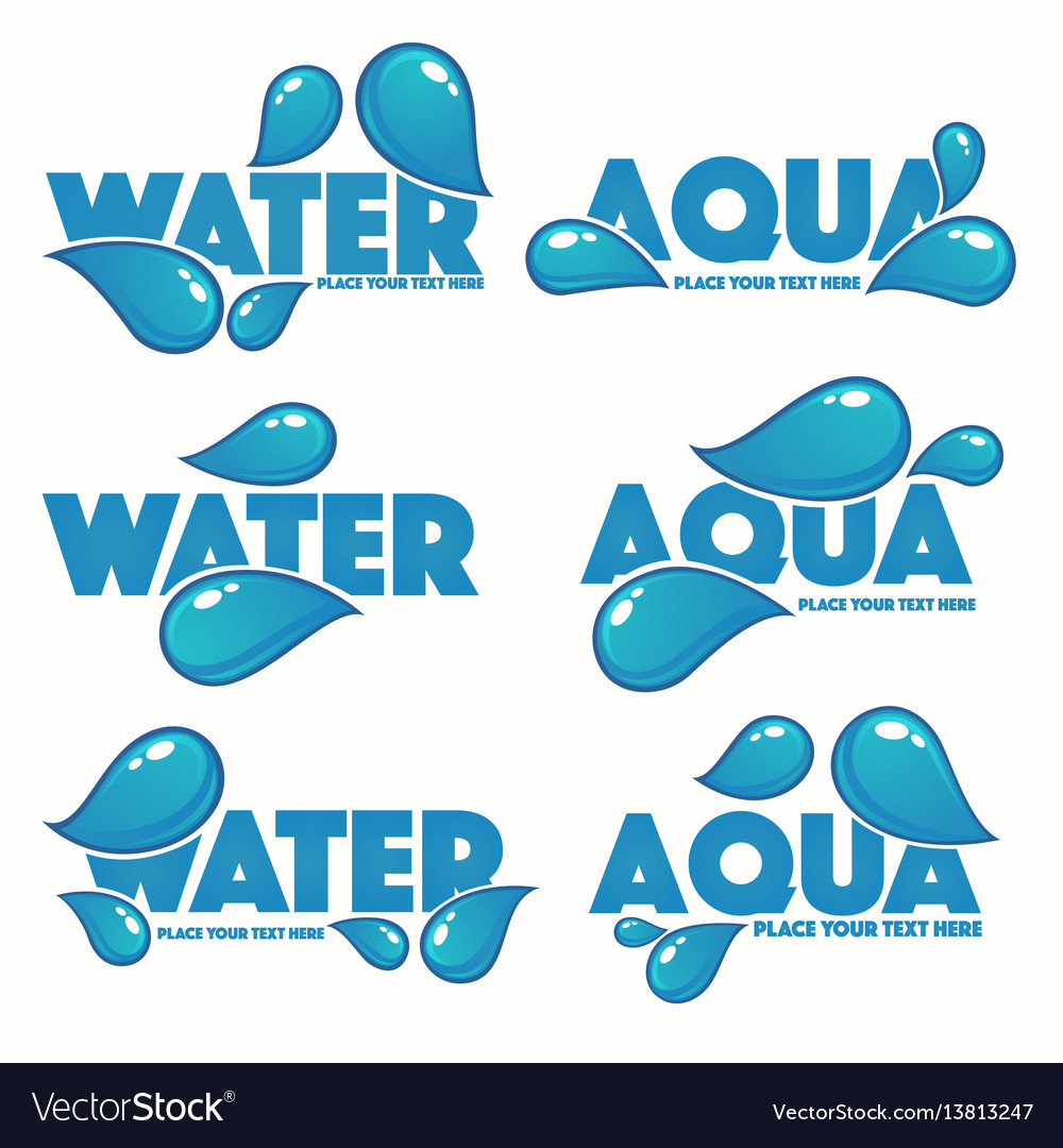 Glossy and shine set of water design logo vector image