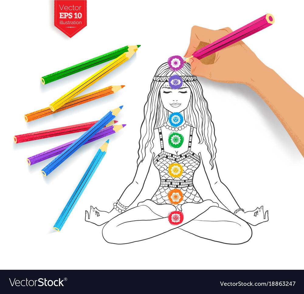Hand Drawing Meditating Woman And Chakras Vector Image
